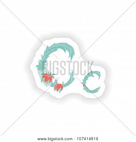 stiker Abstract letter C logo icon  in Blue tropical style