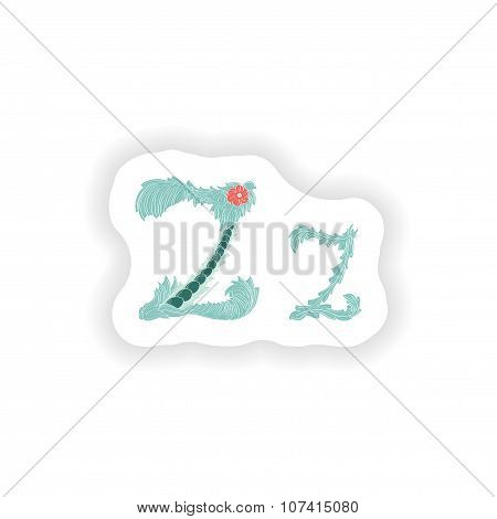 stiker Abstract letter Z logo icon  in Blue tropical style