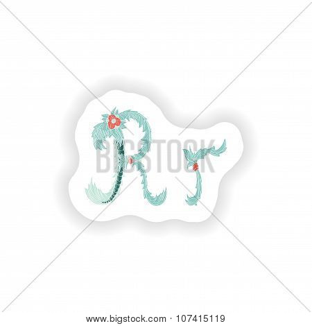 stiker Abstract letter R logo icon  in Blue tropical style