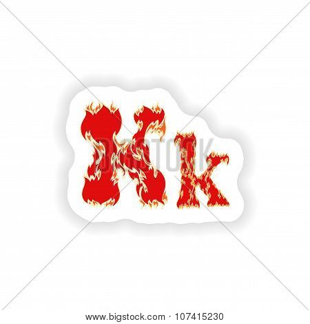 sticker fiery font red letter K on white background