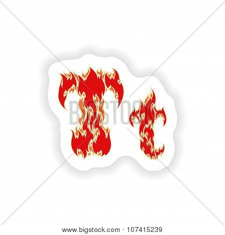 sticker fiery font red letter T on white background