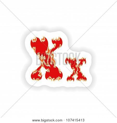 sticker fiery font red letter X on white background