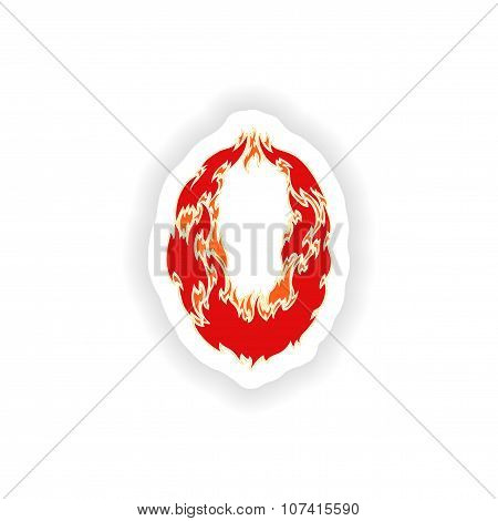 sticker fiery font red number 0 on white background