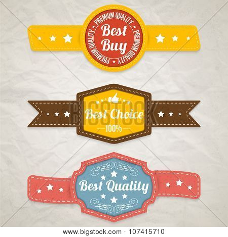 Retro Labels / Stickers / Badges. Vector illustration
