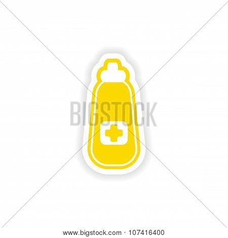 paper sticker on white background medicament in bottle