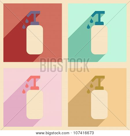 Flat with shadow concept and mobile application liquid soap