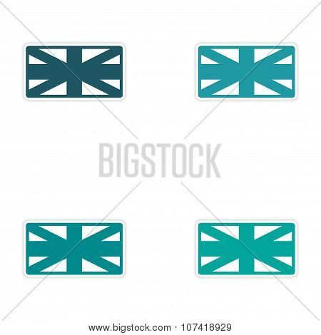 Set of stickers British flag on white background