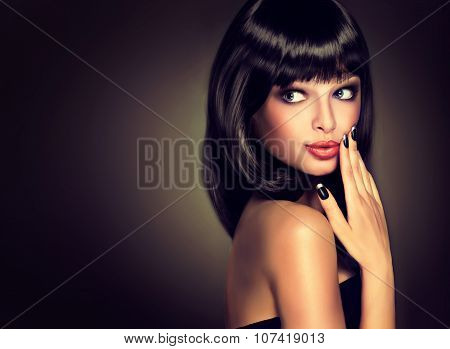 Surprised beautiful girl look away . Model brunette with hairstyle the care. Black hair and nails