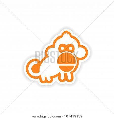 paper sticker white background small chimpanzee