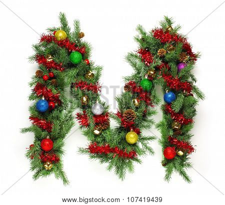 Collection of decorated Christmas tree letters and numbers