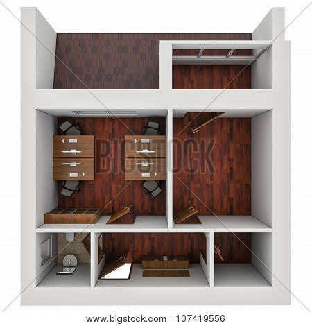 3D Illustration Of The Plan Of Office