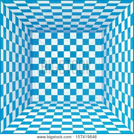Blue and white chessboard walls room background