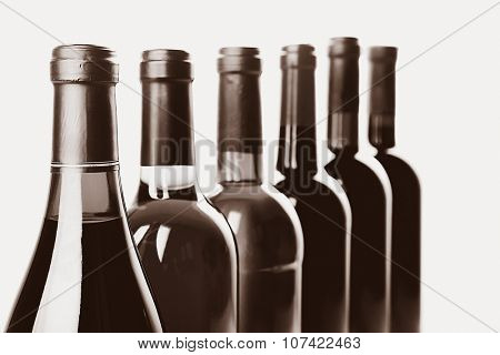 Wine bottles in row,  black and white retro stylization