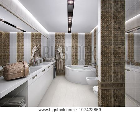 3D rendering of the bathroom in antique style