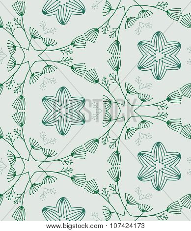 Seamless color hand-drawn pattern, green shapes