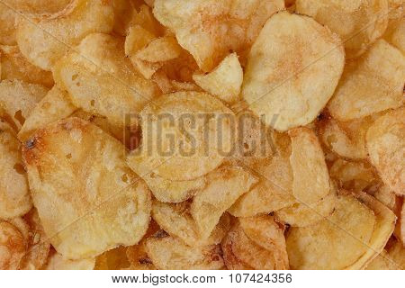 Top view of lots of potato chips