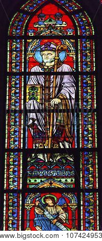 Saint Augustus Bishop Angel Stained Glass Notre Dame Cathedral Paris France