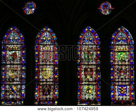 Stained Glass Of Coats Of Arms In Cathedral Of Leon, Spain