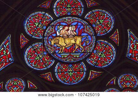 Saint Eustace Saint Antipas Brazen Bull Stained Glass Notre Dame Cathedral Paris France