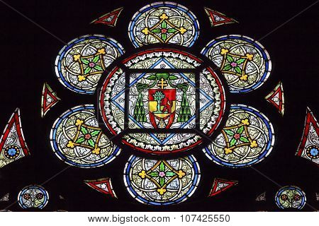 French Coat Of Arms Lion Tree Kings Stained Glass Notre Dame Cathedral Paris France
