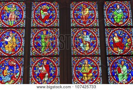 Jesus Christ Kings Stained Glass Notre Dame Cathedral Paris France