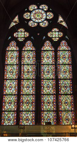 Green Red Blue Designs Stained Glass Notre Dame Cathedral Paris France