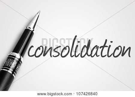 Pen Writes Consolidation On White Blank Paper