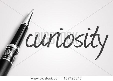 Pen Writes Curiosity On White Blank Paper