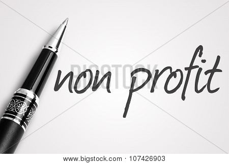 Pen Writes Non Profit On White Blank Paper