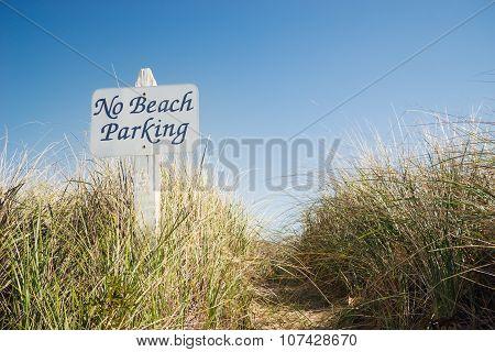 No Beach Parking Sign