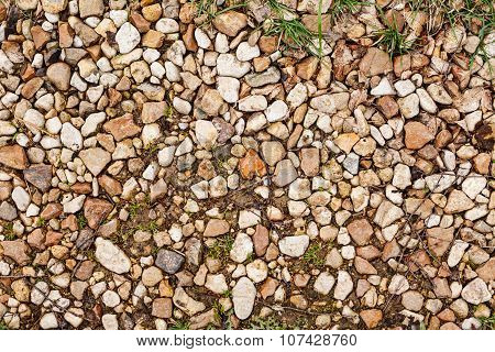 Stone Rubble Underfoot. Grunge Background Texture.