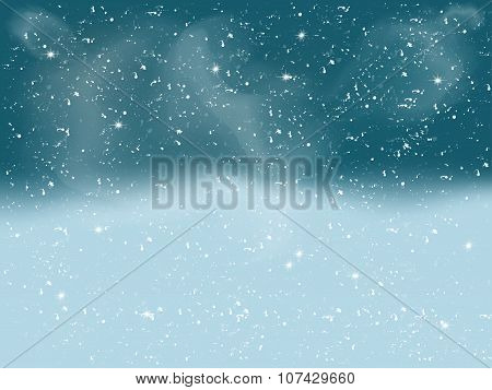 Winter landscape with falling white snow. Christmas background