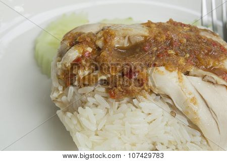 Chicken Rice Soup Empty Sauce Meat Asian Food Concept