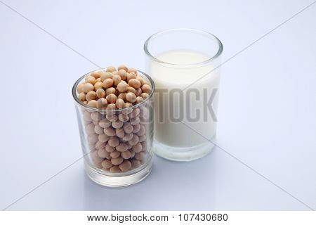 close up soy beans and soymilk