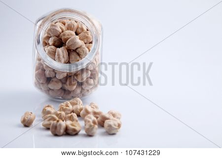 Bulk chick peas in a glass container