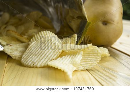 Potato Chip Fat Cholesterol Salted Junk Fast Food Concept