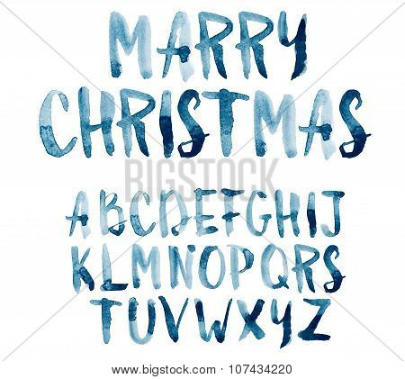 Watercolor aquarelle font type handwritten hand drawn doodle abc alphabet uppercase letters.