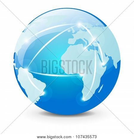 Global logistic icon on white