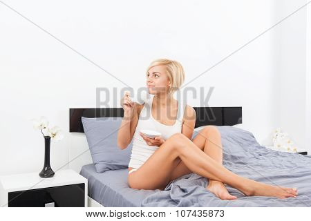 woman cup coffee smell closed eyes dream on bed