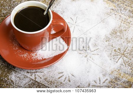 Black Coffee In A Red Cup.