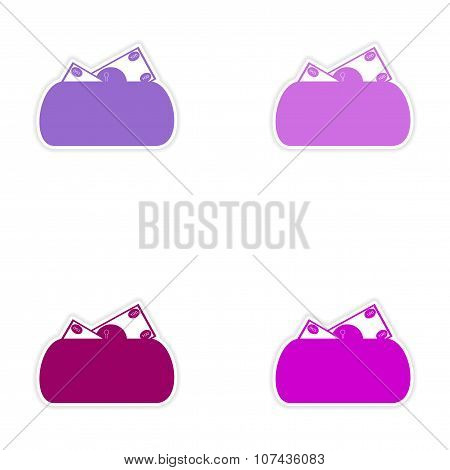 Set of stylish sticker on paper purse and money