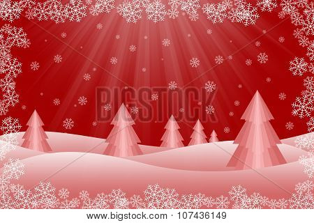 Snowy Christmas Tree Scene
