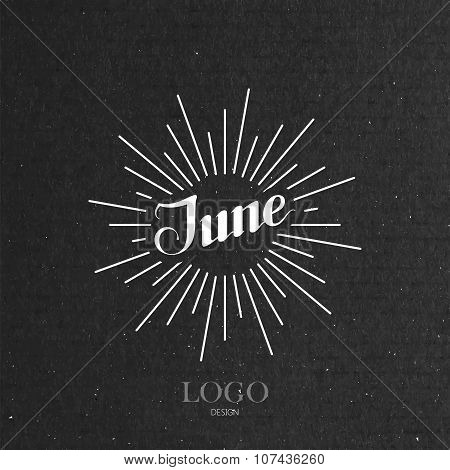 illustration of handwritten June retro label with light rays