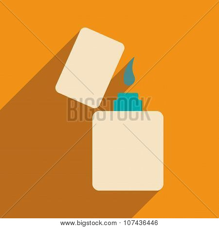 Flat with shadow icon and mobile application lighter