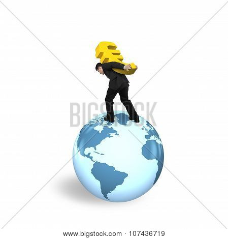 Businessman Carrying Euro Sign Standing On Globe World Map