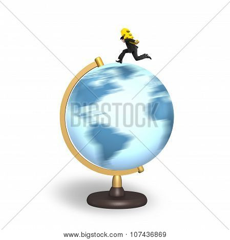 Businessman Carrying Euro Sign Running On Rotating Globe