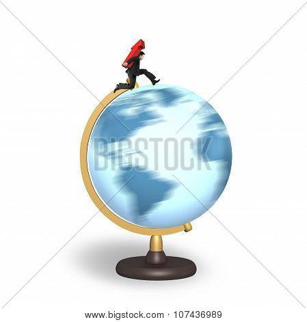 Businessman Carrying Arrow Up Running On Rotating Globe