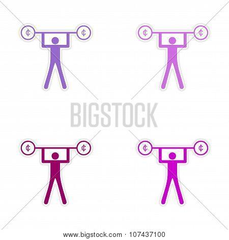 Stylish assembly sticker on paper people and money Rod