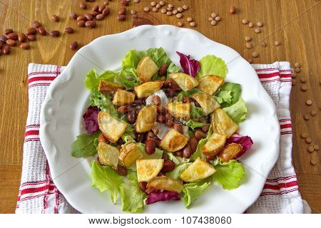 baked potatoes with fresh salad and beans