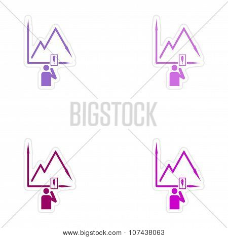 Set of stylish sticker on paper falling graph and people